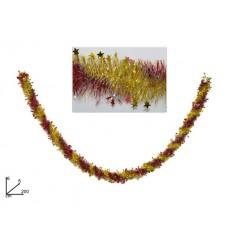 Ghirlanda Filo Addobbo Natale Bicolore Rosso/Oro con Stelle 6cmx2mt